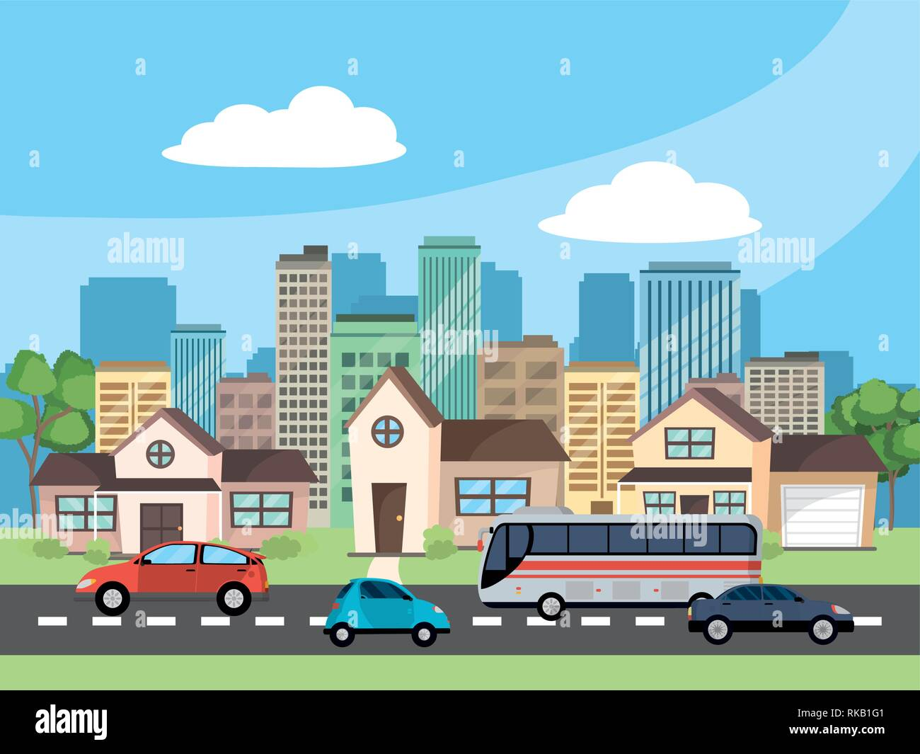 transportation concept cars with bus at urban scene in front city landscape and houses cartoon vector illustration graphic design - Stock Image