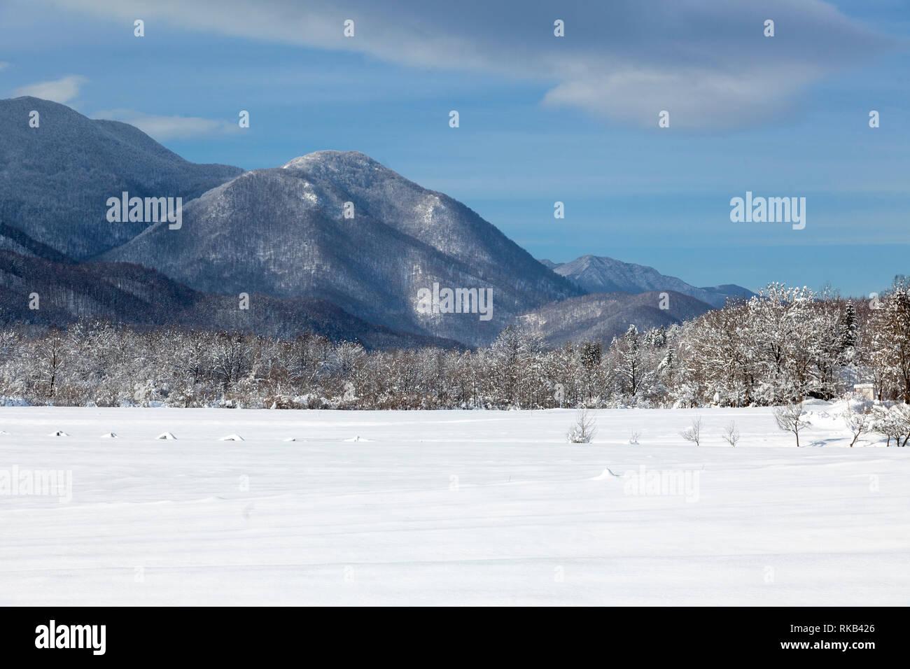 Winter with snow on Lika, foothill of the Velebit Mountain  Croatia - Stock Image