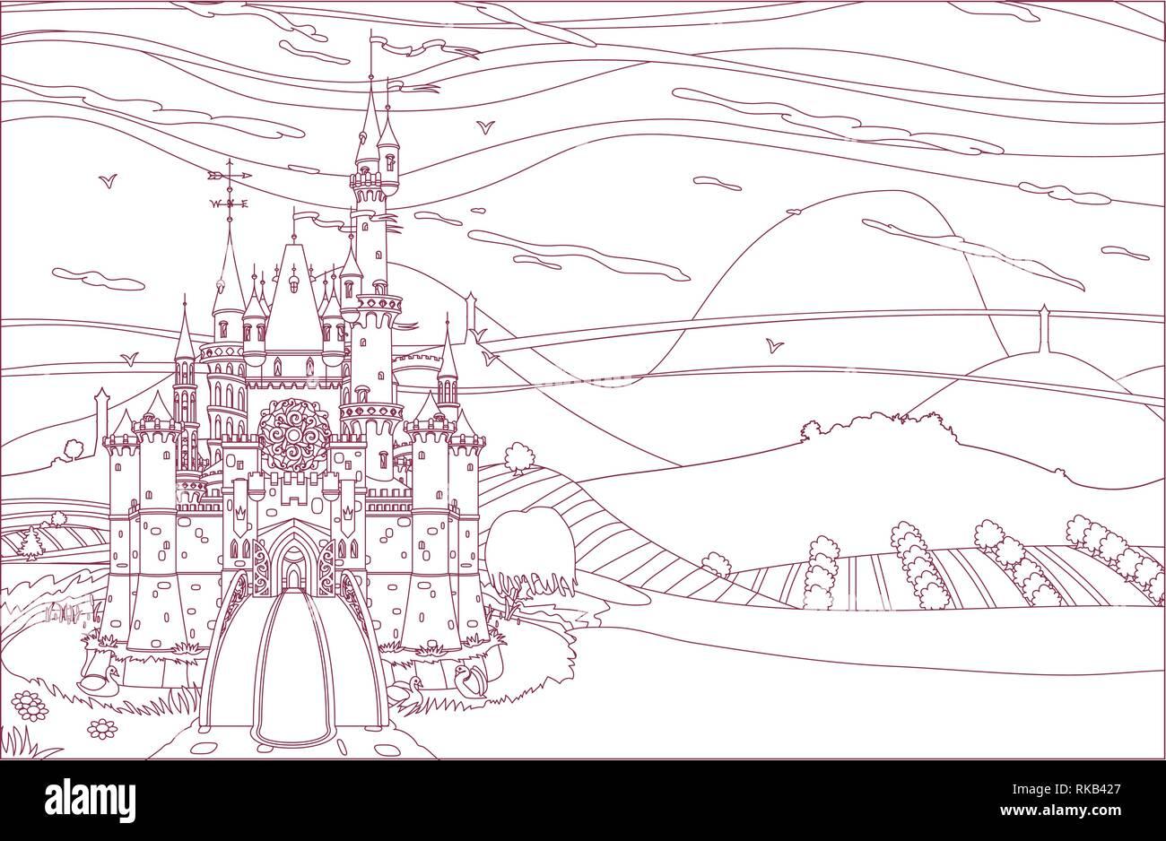 vector kingdom castle fortress coloring book page - Stock Vector