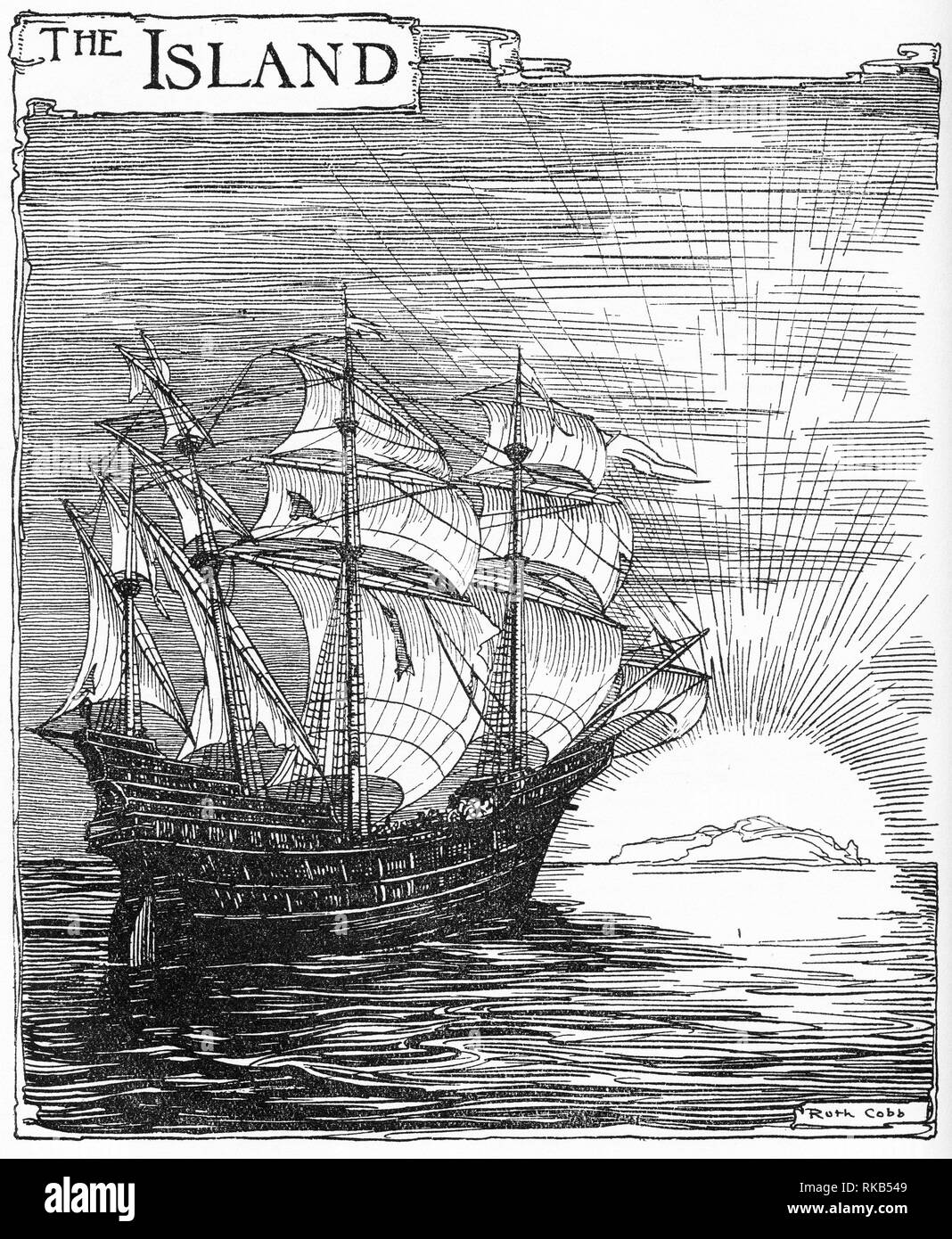 Engraving of a sailing ship heading to the setting sun. From Chatterbox magazine, 1925 - Stock Image