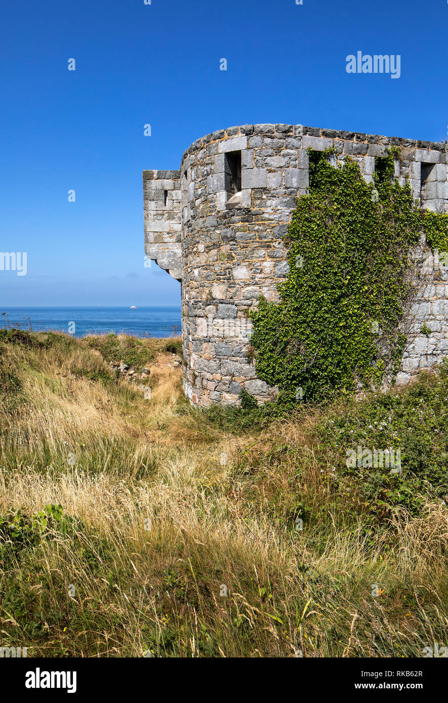 The most inland tower of Fort Tourgis on Alderney - Stock Image