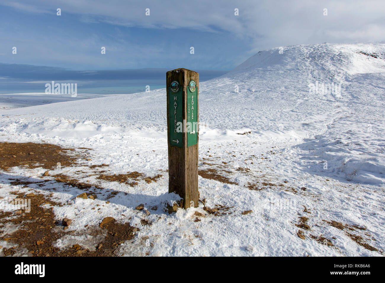A footpath sign post showing the Pennine Way below Kinder Scout in the Derbyshire Peak District. - Stock Image
