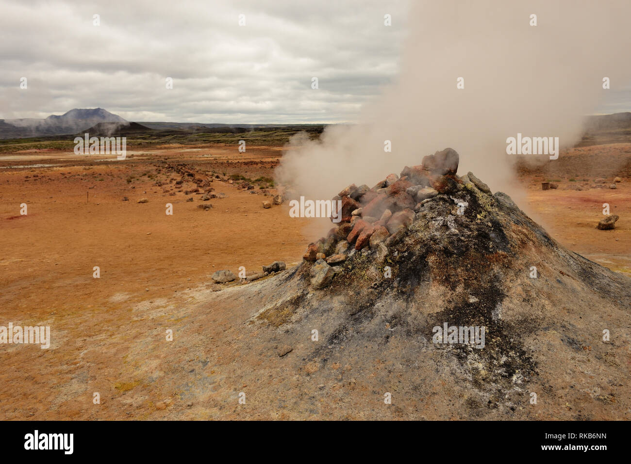 A fumarole at Namafjall in Iceland. Stock Photo
