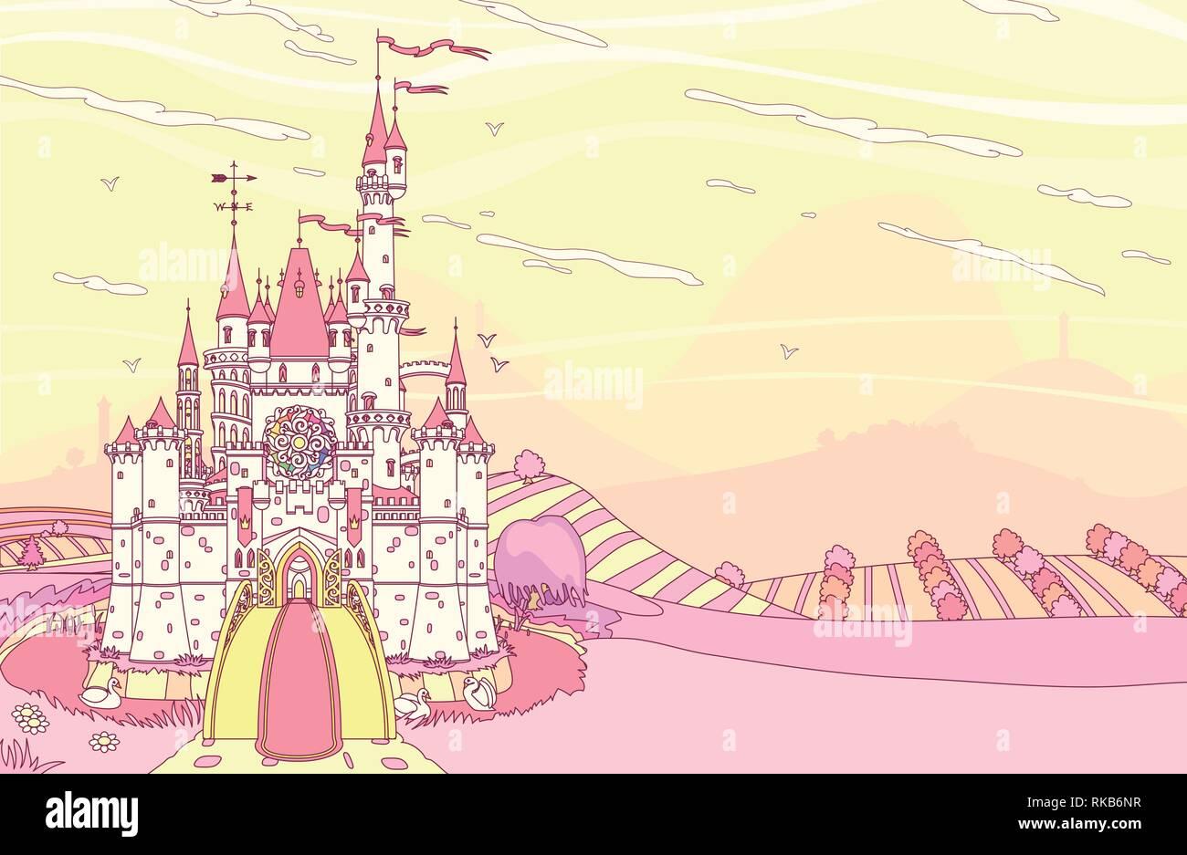 vector fairytale royal panoramic castle view art - Stock Vector