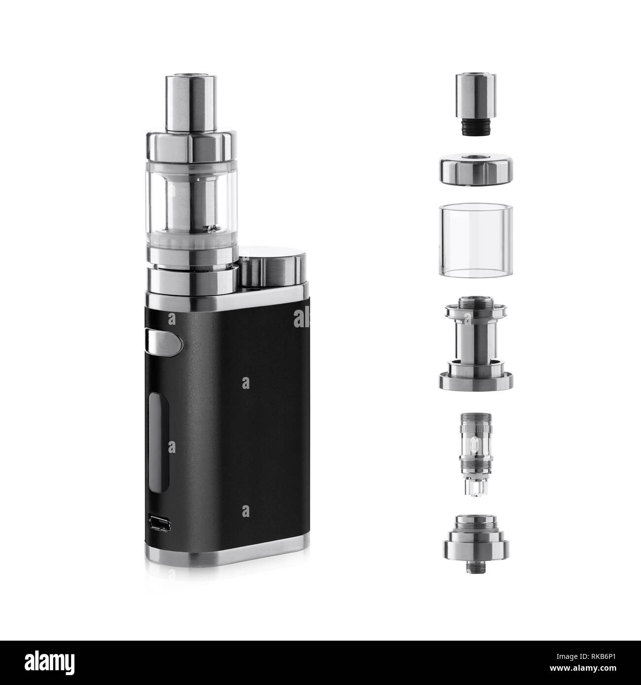 Vape electronic cigarette with atomizer components - Stock Image