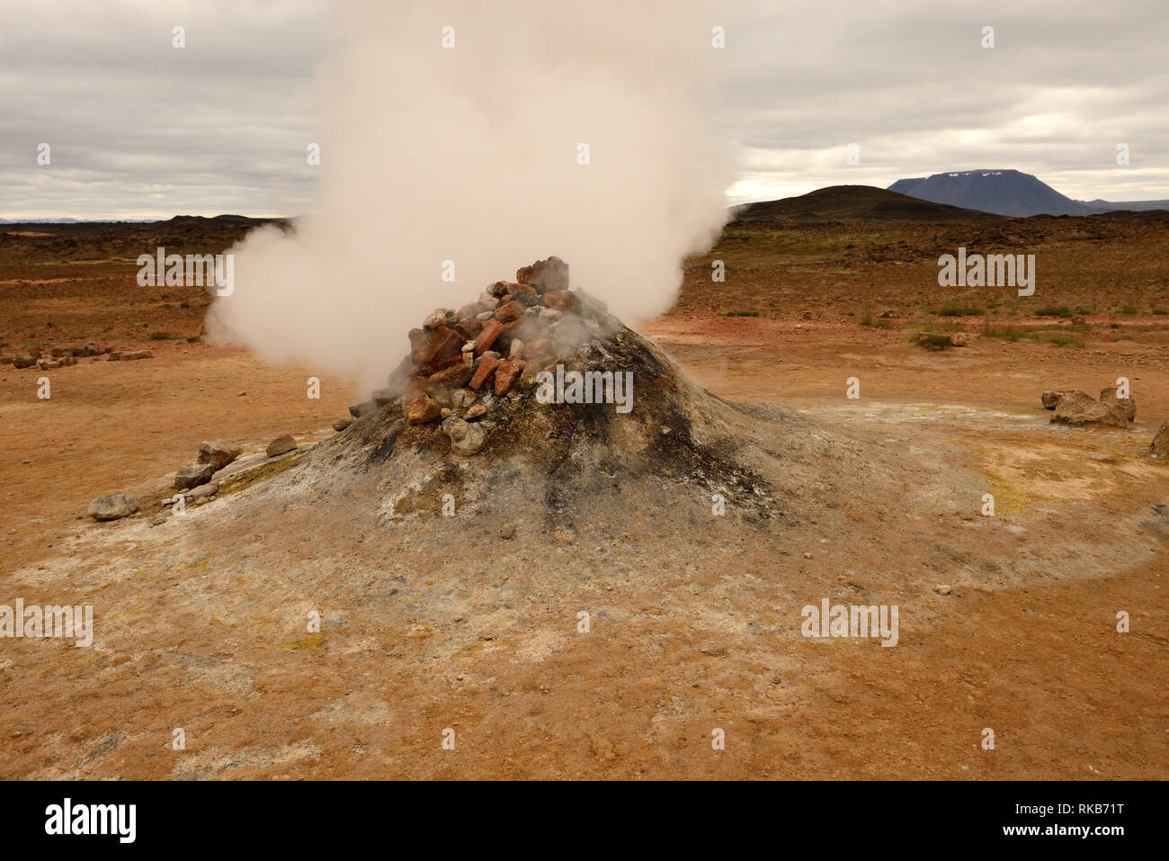A fumarole at Namafjall in Iceland. - Stock Image