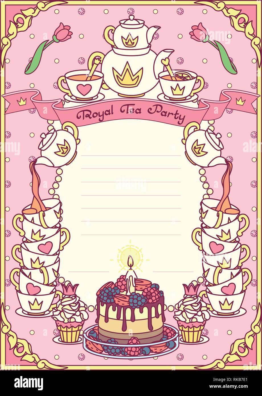 vector Royal tea party invitation template concept Stock Vector