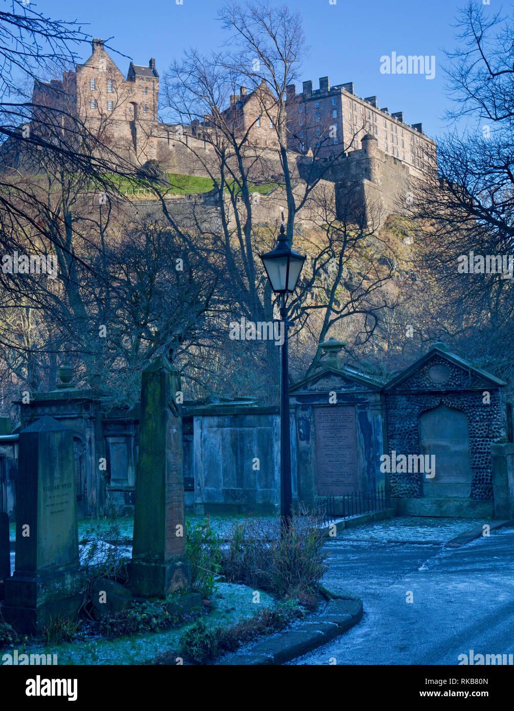 Edinburgh Castle and St Cuthbert's graveyard, Edinburgh, Scotland - Stock Image