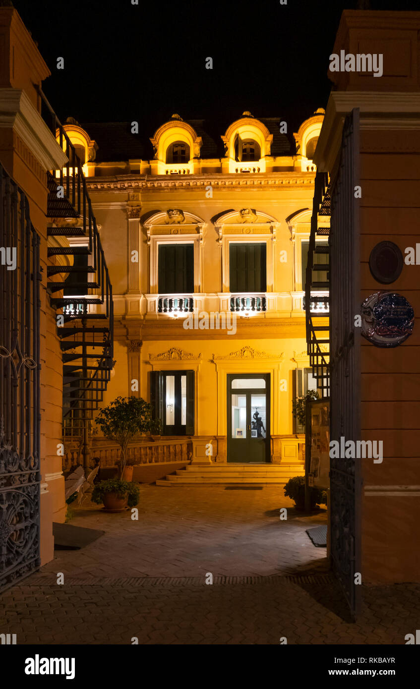 The Mermaid's House in the Alameda de Hercules seen at night, Seville, Spain - Stock Image