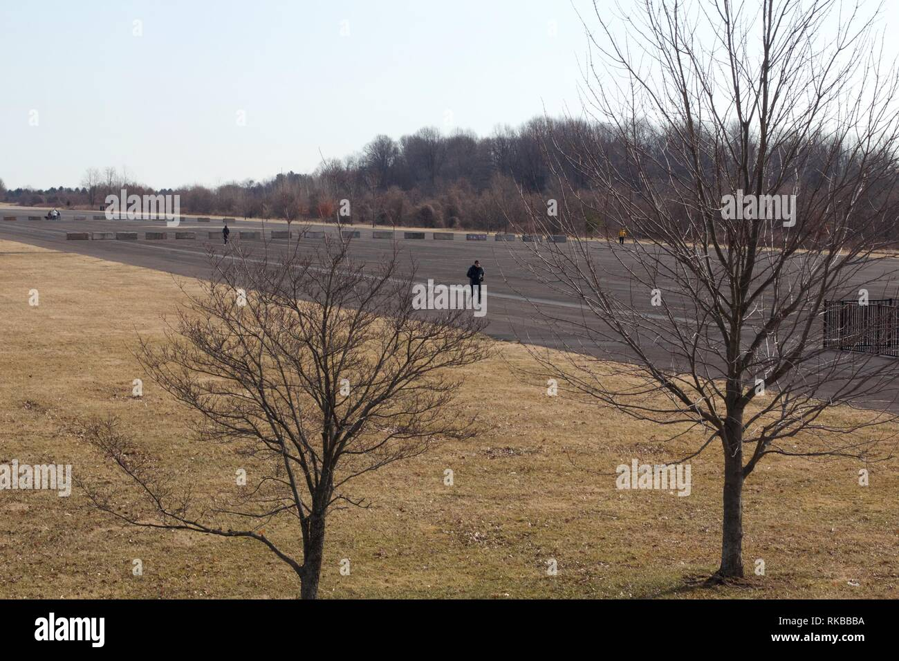 Warminster, Pennsylvania / USA - February 6, 2019: A community park occupies the site of the former Naval Air Warfare Center Warminster military base. - Stock Image