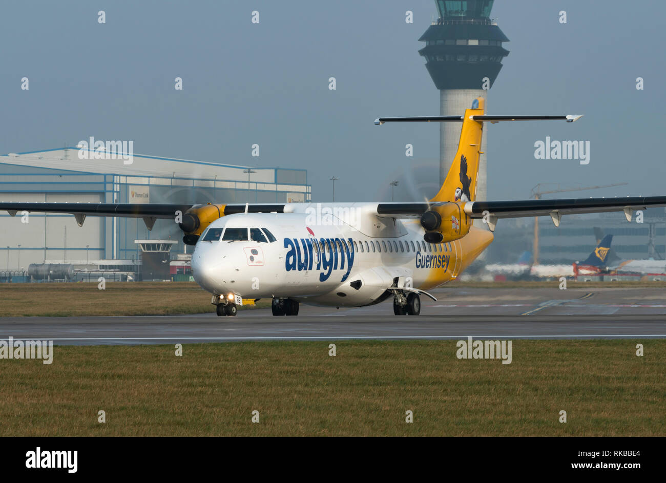 Aurigny Air Services, ATR 72-500, G-LERE taxying for take off at Manchester Airport - Stock Image