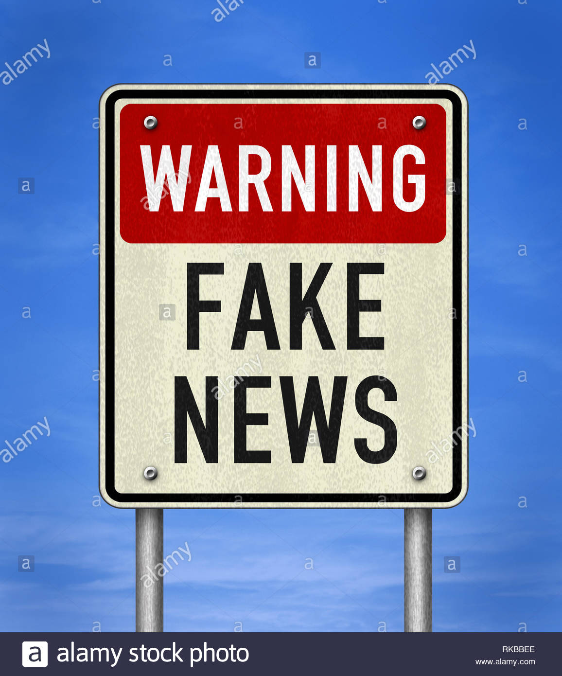 Warning - Fake News - Stock Image