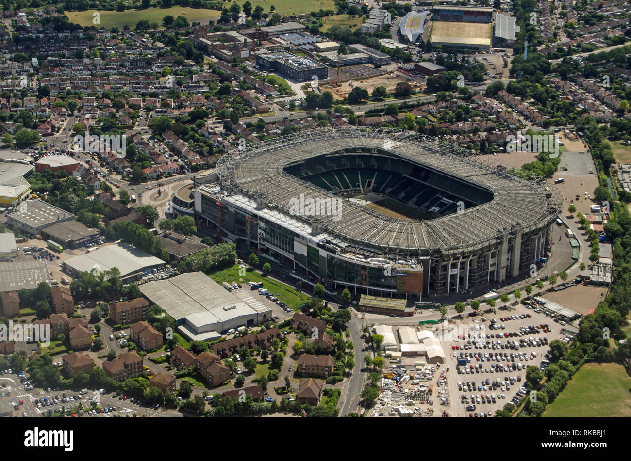 Aerial view of the famous rugby stadium in Twickenham, South West London.  Home of the England Rugby Football Union.  The smaller Stoop Memorial Groun - Stock Image