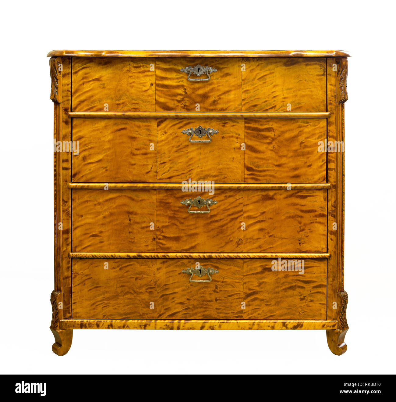 Old vintage antique chest of drawers on a white background - Stock Image