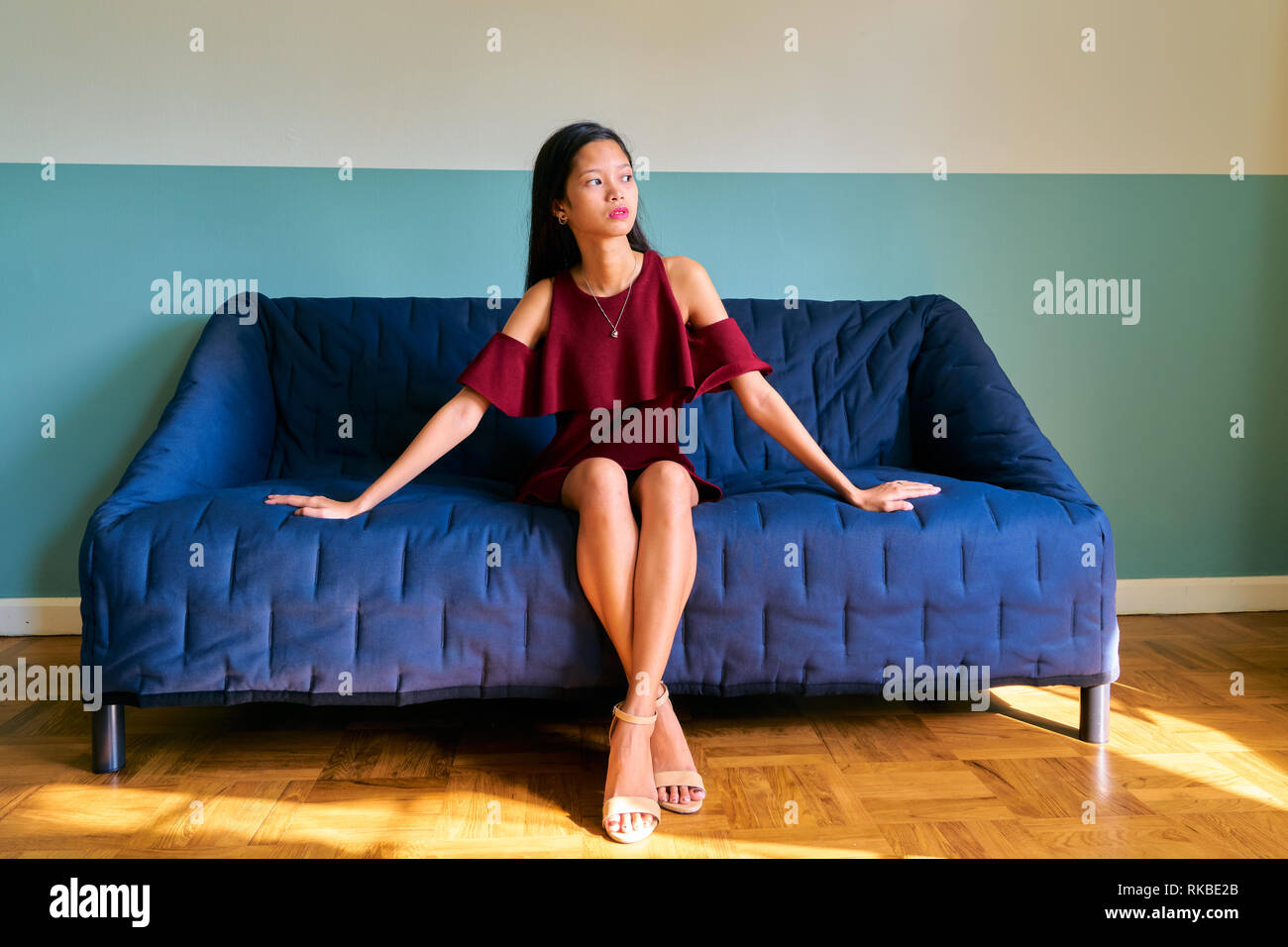 Beautiful woman posing - attractive young woman waiting someone - Stock Image