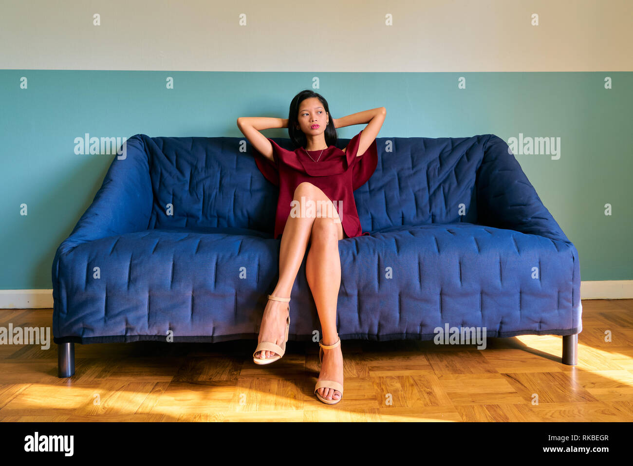 Beautiful woman posing - relaxing young woman thinking about something - Stock Image