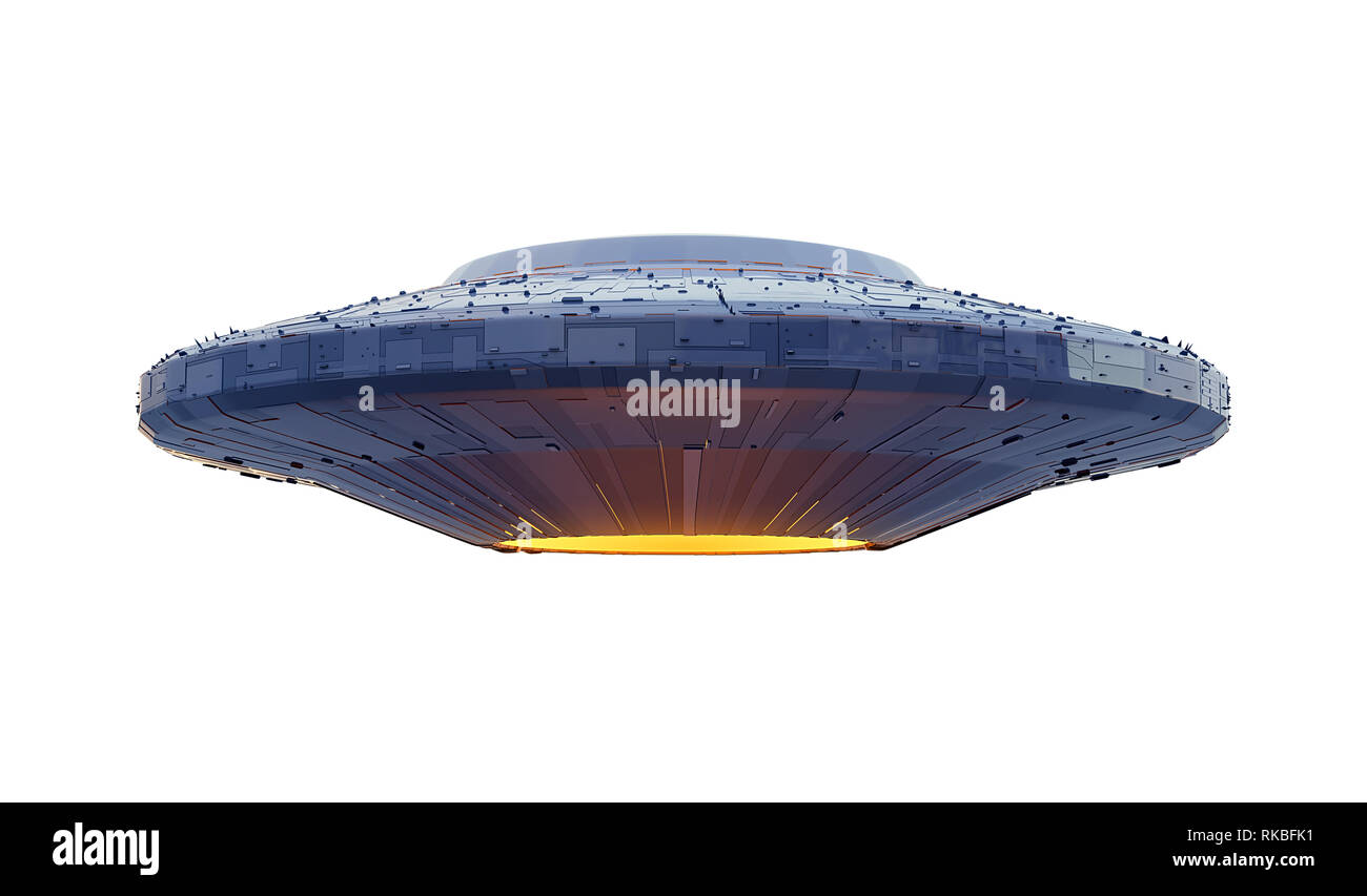 UFO, alien spaceship with extraterrestrial visitors, flying saucer (3d space rendering isolated on white background) - Stock Image