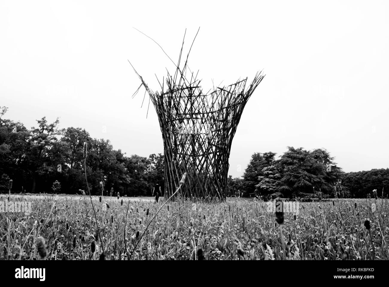 Public Gardens of Monza. Remains of an art installation - Stock Image