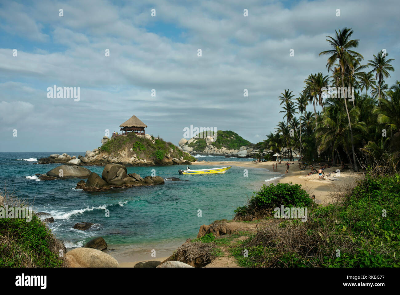 Scenic views of Cabo San Juan beach including tourists. Tayrona National Park, Colombia. Sep 2018 - Stock Image