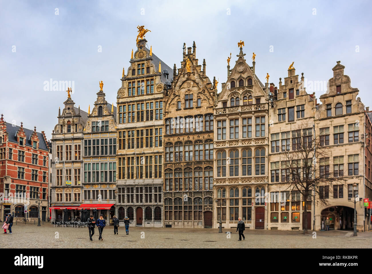 Cityscape with traditional gothic medieval guildhouses on Grote Markt square, Great Market square in old town Antwerp, Belgium - Stock Image