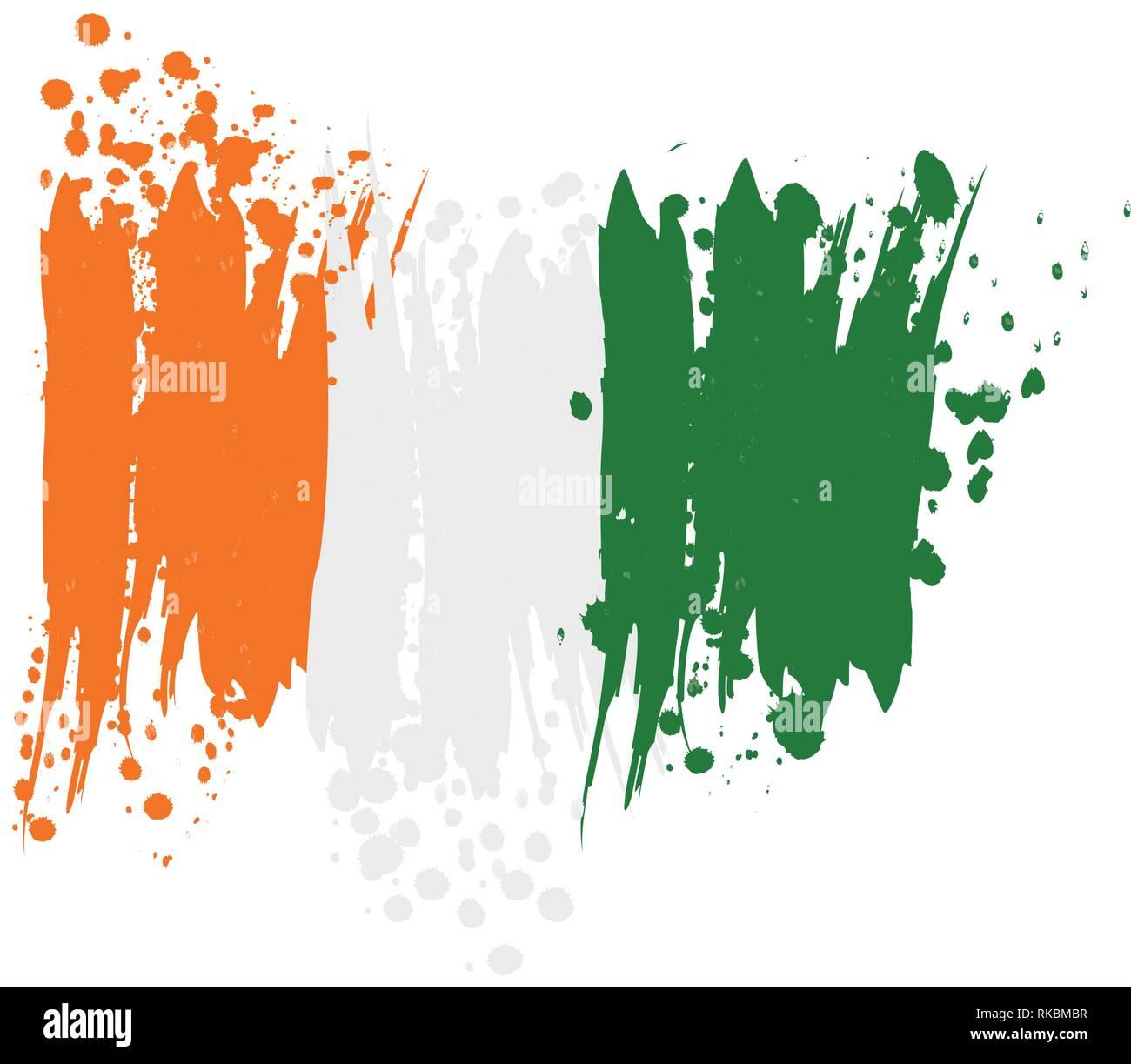 watercolor flag of Ireland, vector illustration design - Stock Image