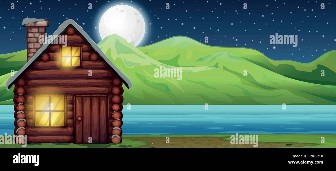 Cabin house at night scen illustration - Stock Vector