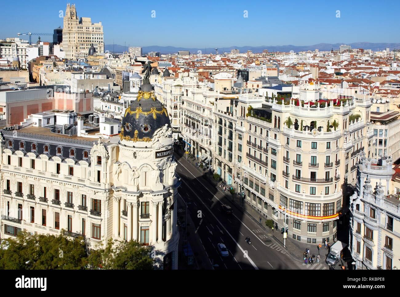 Edificio Metropolis, Gran Via, Madrid, Spain, Europe - Stock Image