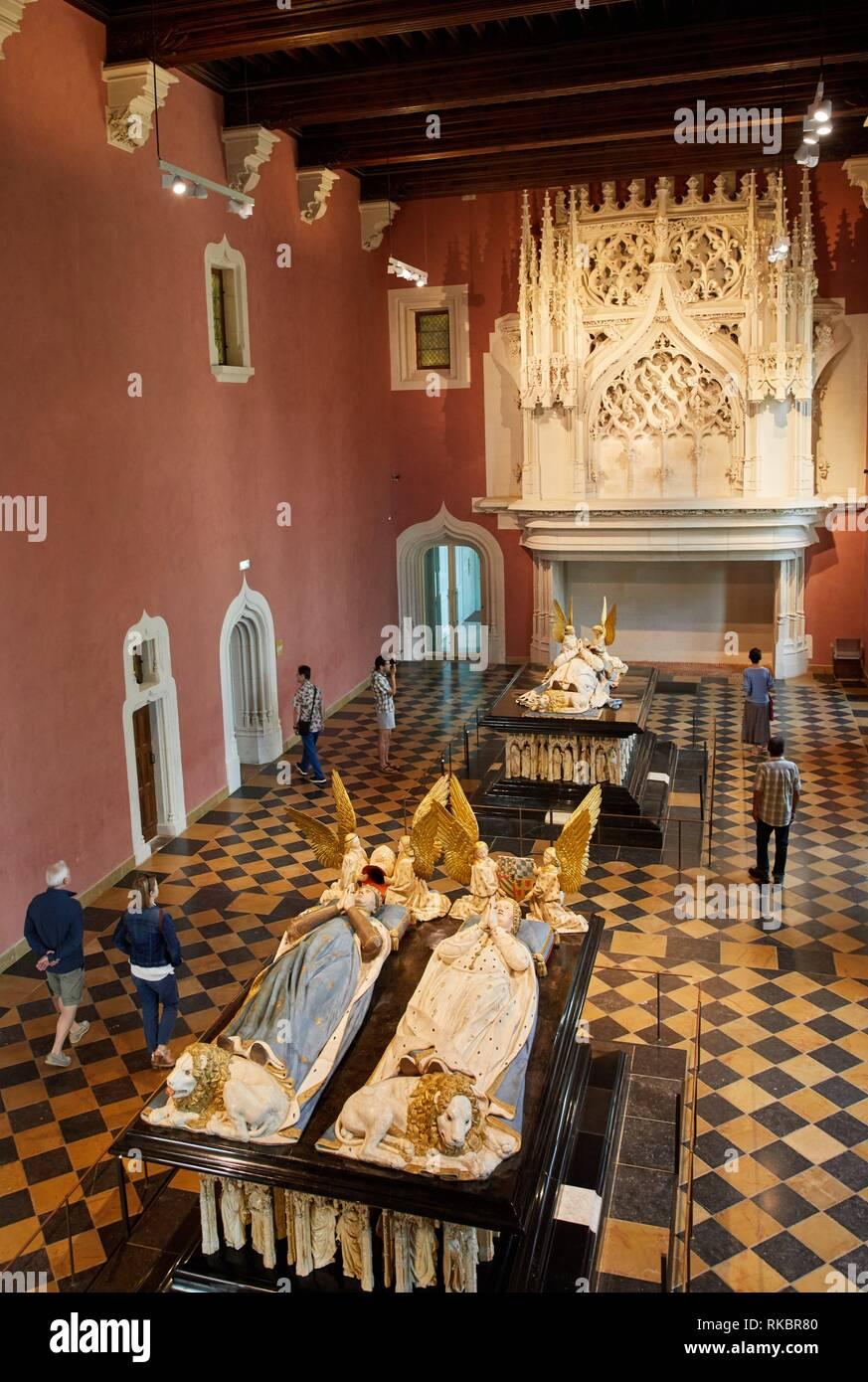 Salle des gardes, Tomb of John the Fearless and Margaret of Bavaria, 1400, Ducs de Bourgogne, Fine Arts Museum, Musée des Beaux-Arts, Dijon, Côte - Stock Image