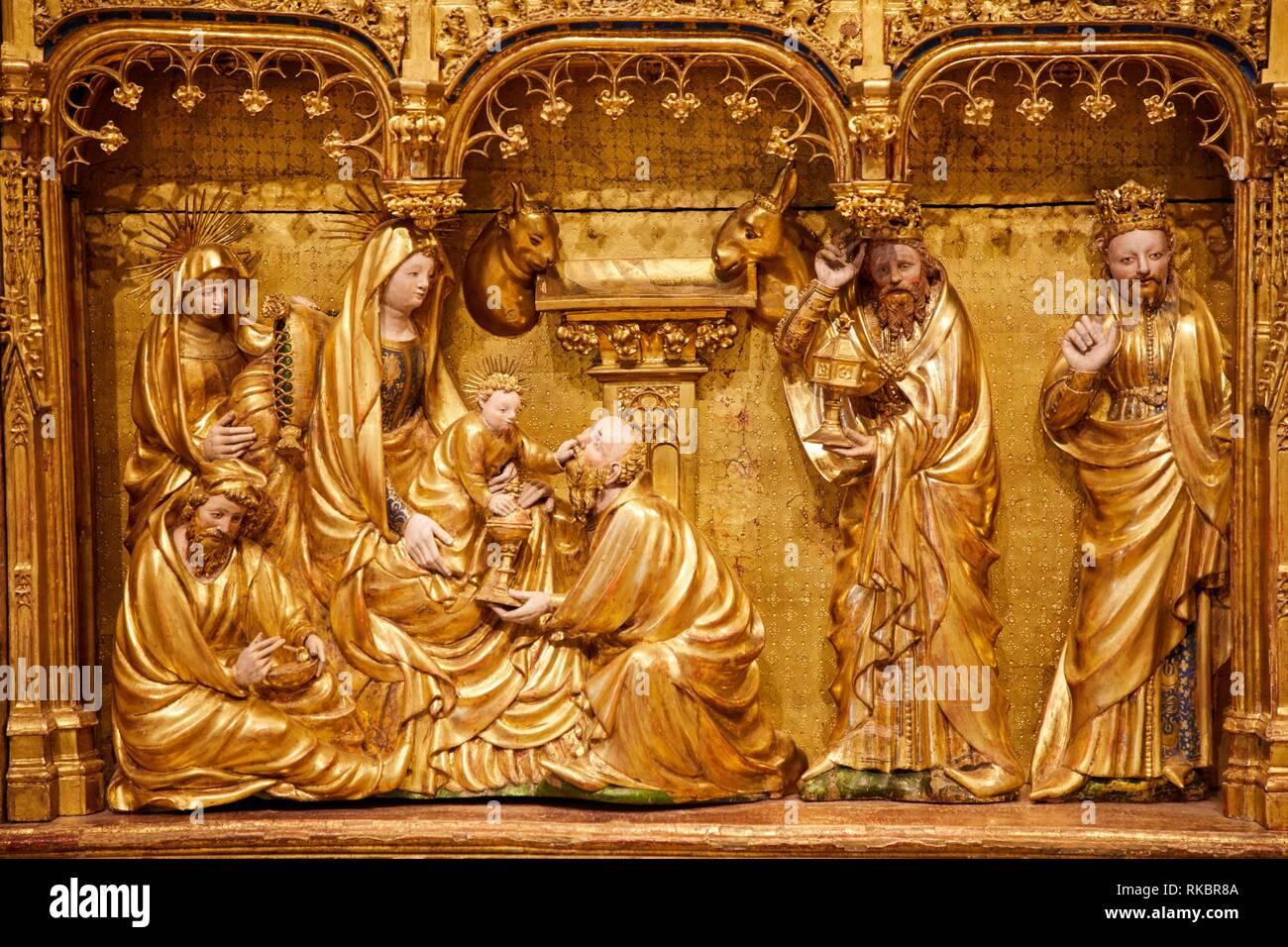 Retable de la Crucifixion, Salle des Retables de la chartreuse de Champmol, Jacques de Baerze and Melchior Broederlam, Fine Arts Museum, Musée des - Stock Image