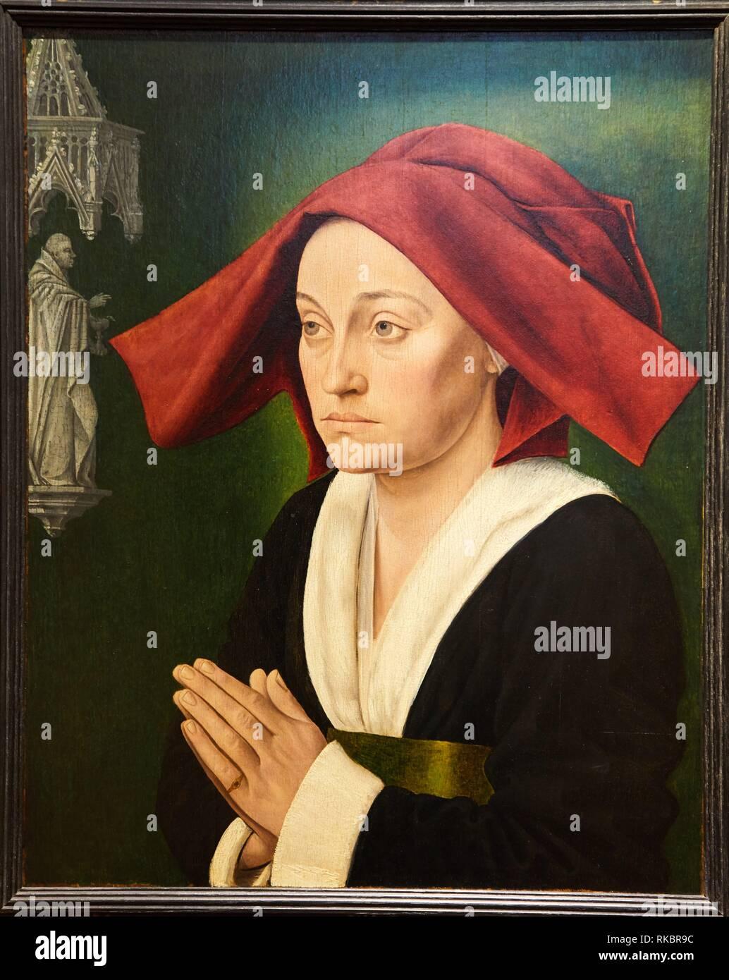 Portrait dit de Jeanne de Montagu, Maitre de Saint-Jean-de-Luze, Fine Arts Museum, Musée des Beaux-Arts, Dijon, Côte d´Or, Burgundy Region, - Stock Image
