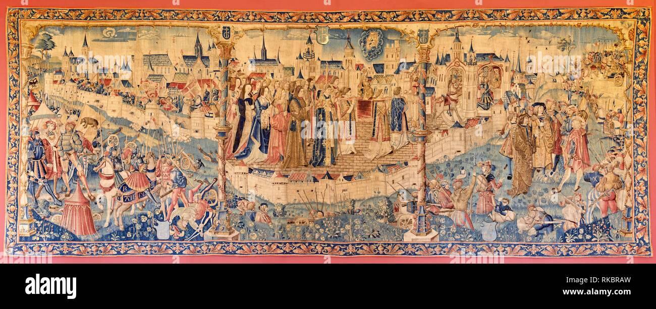 Le Siège de Dijon en 1513, Tapestry, Fine Arts Museum, Musée des Beaux-Arts, Dijon, Côte d´Or, Burgundy Region, Bourgogne, France, Europe Stock Photo