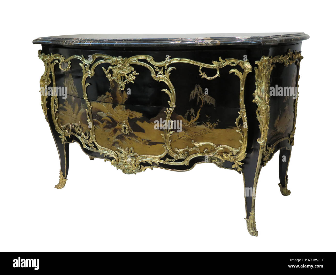 Antique chest of drawers known as commode wood inlaid ormolu furniture isolated on white with clipping path - Stock Image
