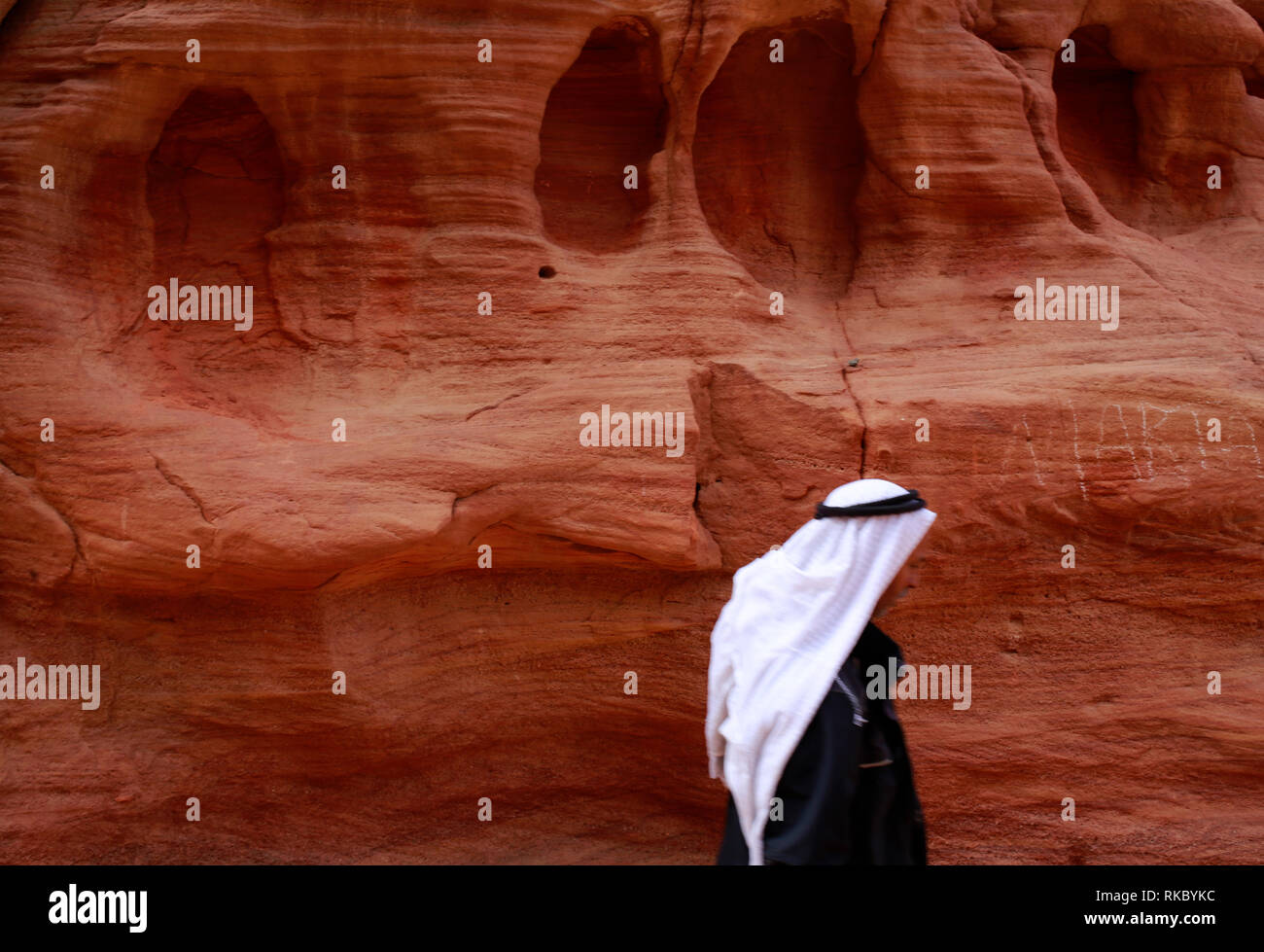 Rock formations in Egypt's Coloured Canyon, located near the Sinai town of Nuweiba, Egypt. (Photo/Hasan Jaali) - Stock Image