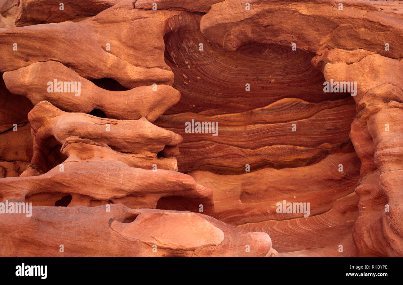 Sinai Peninsula rock formations in Egypt's Coloured Canyon, carved out of the sandstone and limestone long ago by the Red Sea.  (Photo/Hasan Jamali - Stock Image