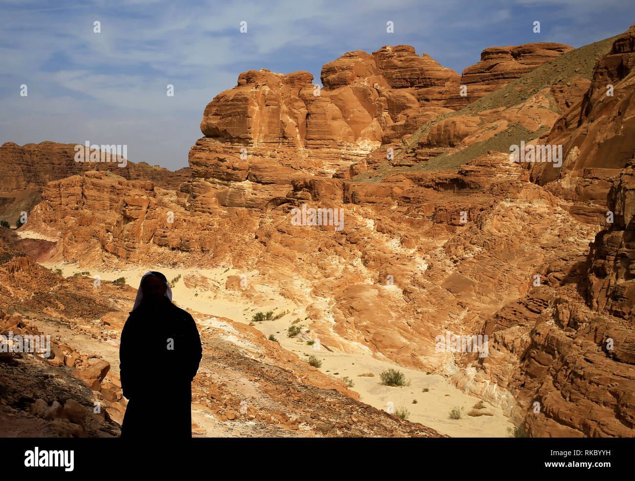 Rock formations in Egypt's Coloured Canyon, located near the Sinai town of Nuweiba, Egypt. Photo taken Jan. 24, 2019. (Photo/Hasan Jamali) - Stock Image