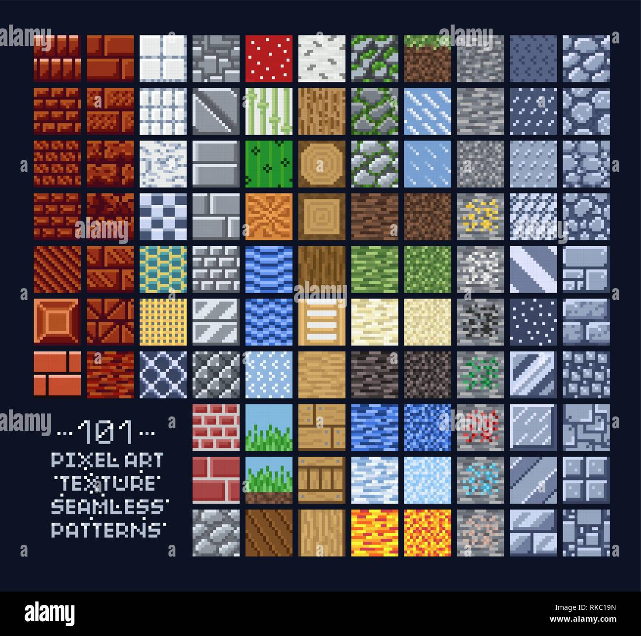 Pixel Art Style Set Of Different 16x16 Texture Pattern Sprites Stone Wood Brick Dirt Metal 8 Bit Game Design Background Tiles Stock Vector Image Art Alamy