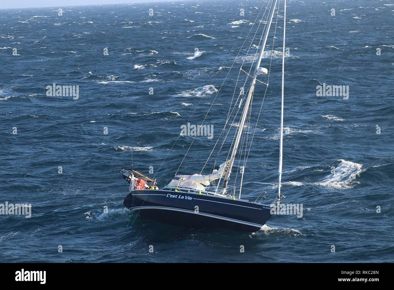 U.S. Coast Guard Cutter Reliance crew arrives at the disabled sailboat C'est La Vie floundering in the Atlantic Ocean 110 miles off the coast of Virginia Beach February 8, 2019 near Virginia Beach, Virginia. The 32-foot sailboat snapped the tiller while traveling from Sheepshead Bay, New York, destined for St. Croix. Two sailors were rescued and the boat towed to safety. - Stock Image