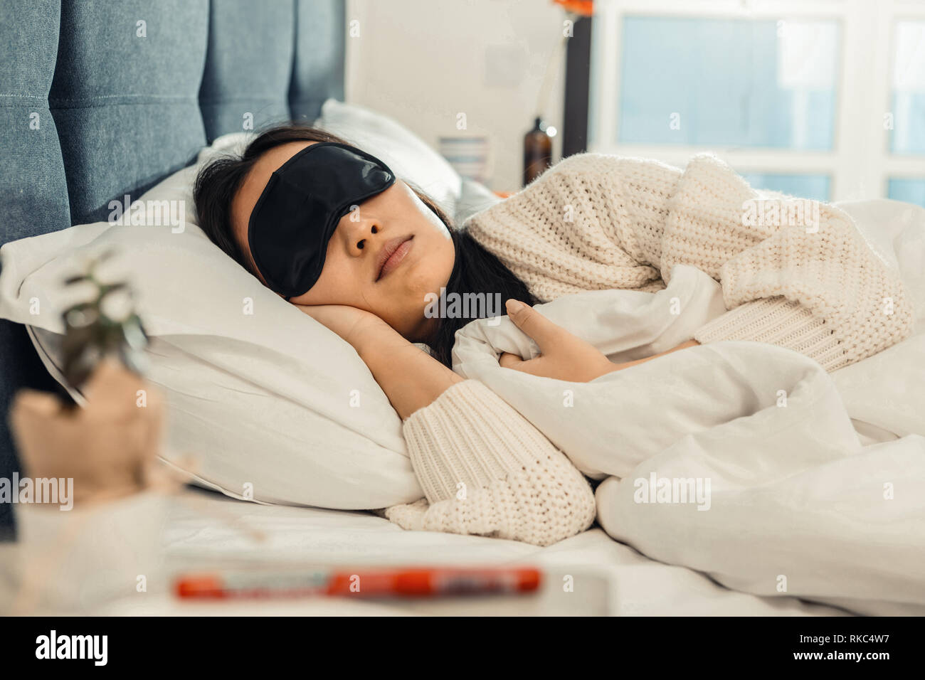 Close up of young beautiful woman feeling good while sleeping - Stock Image