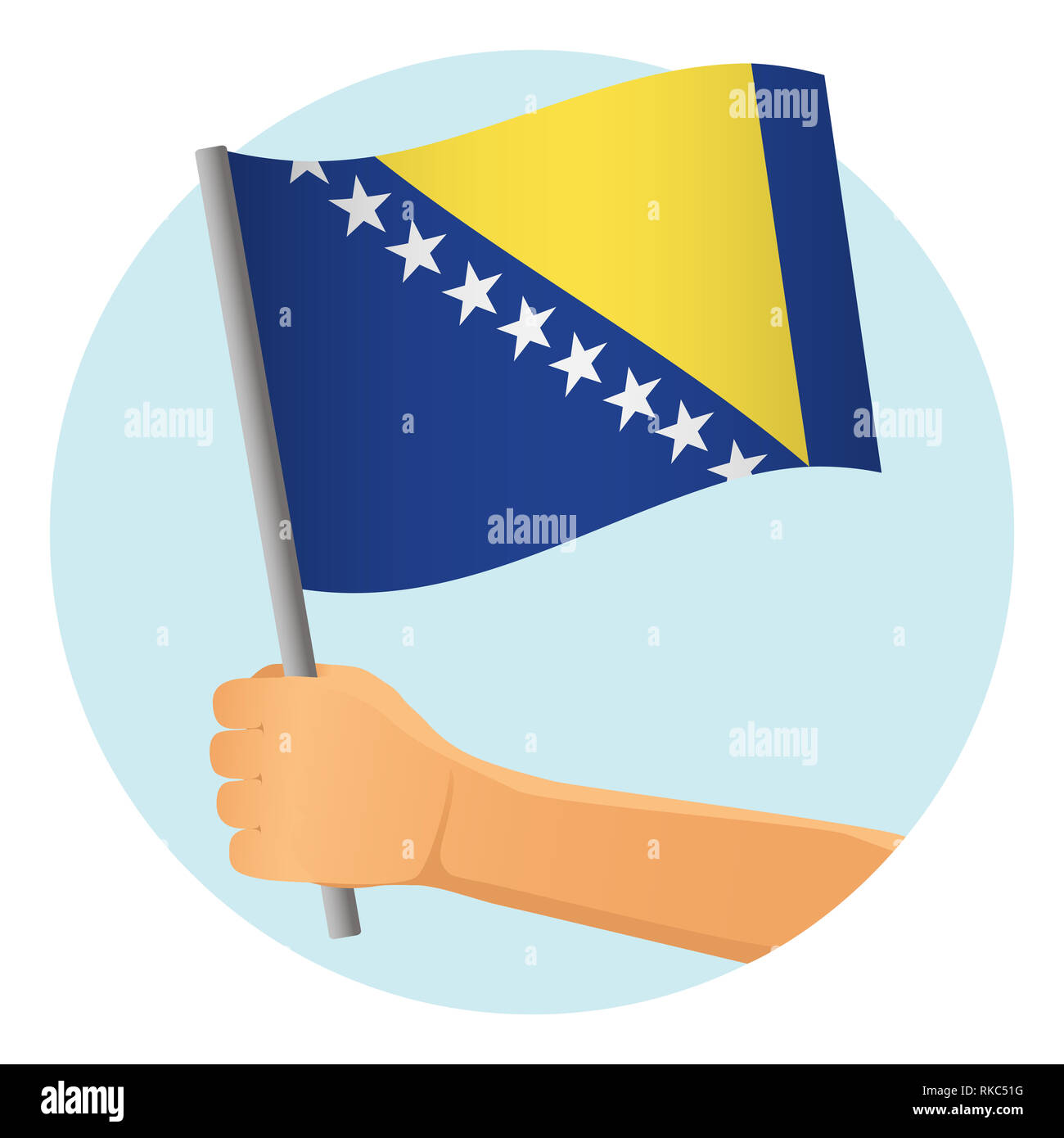 Bosnia and Herzegovina flag in hand. Patriotic background. National flag of Bosnia and Herzegovina  illustration - Stock Image