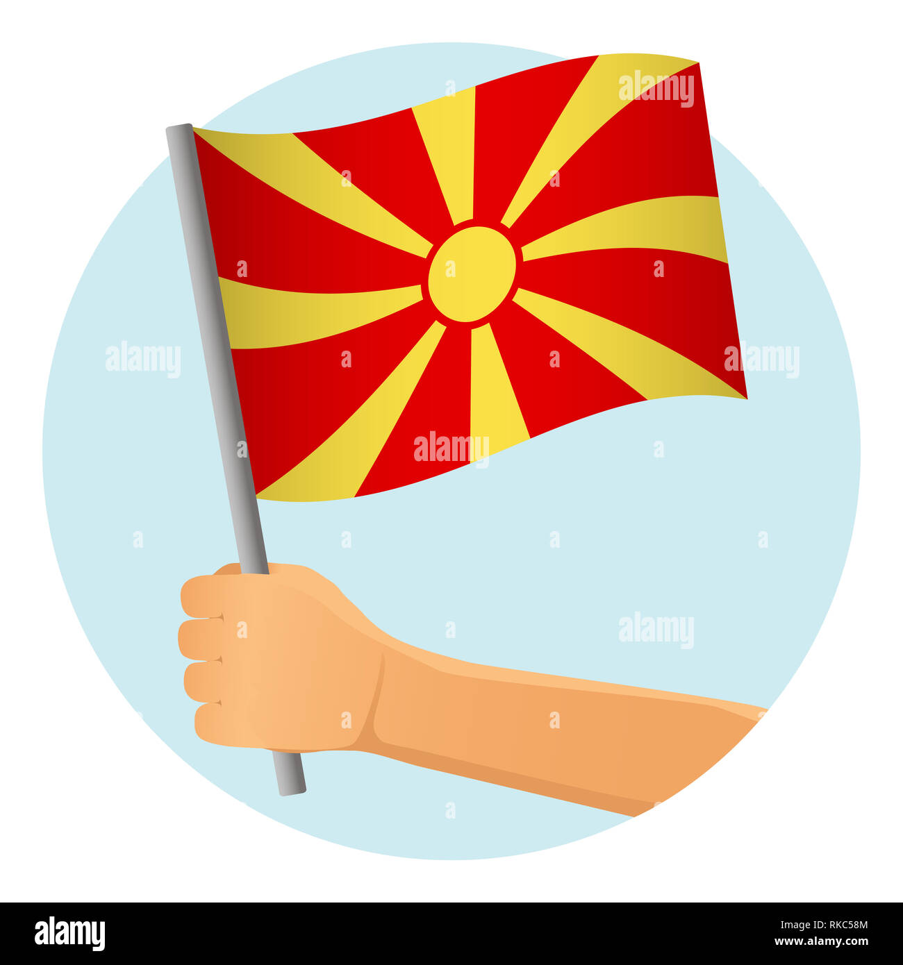 Macedonia flag in hand. Patriotic background. National flag of Macedonia  illustration - Stock Image