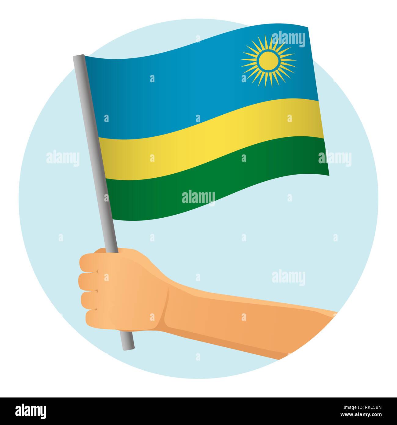 Rwanda flag in hand. Patriotic background. National flag of Rwanda  illustration - Stock Image