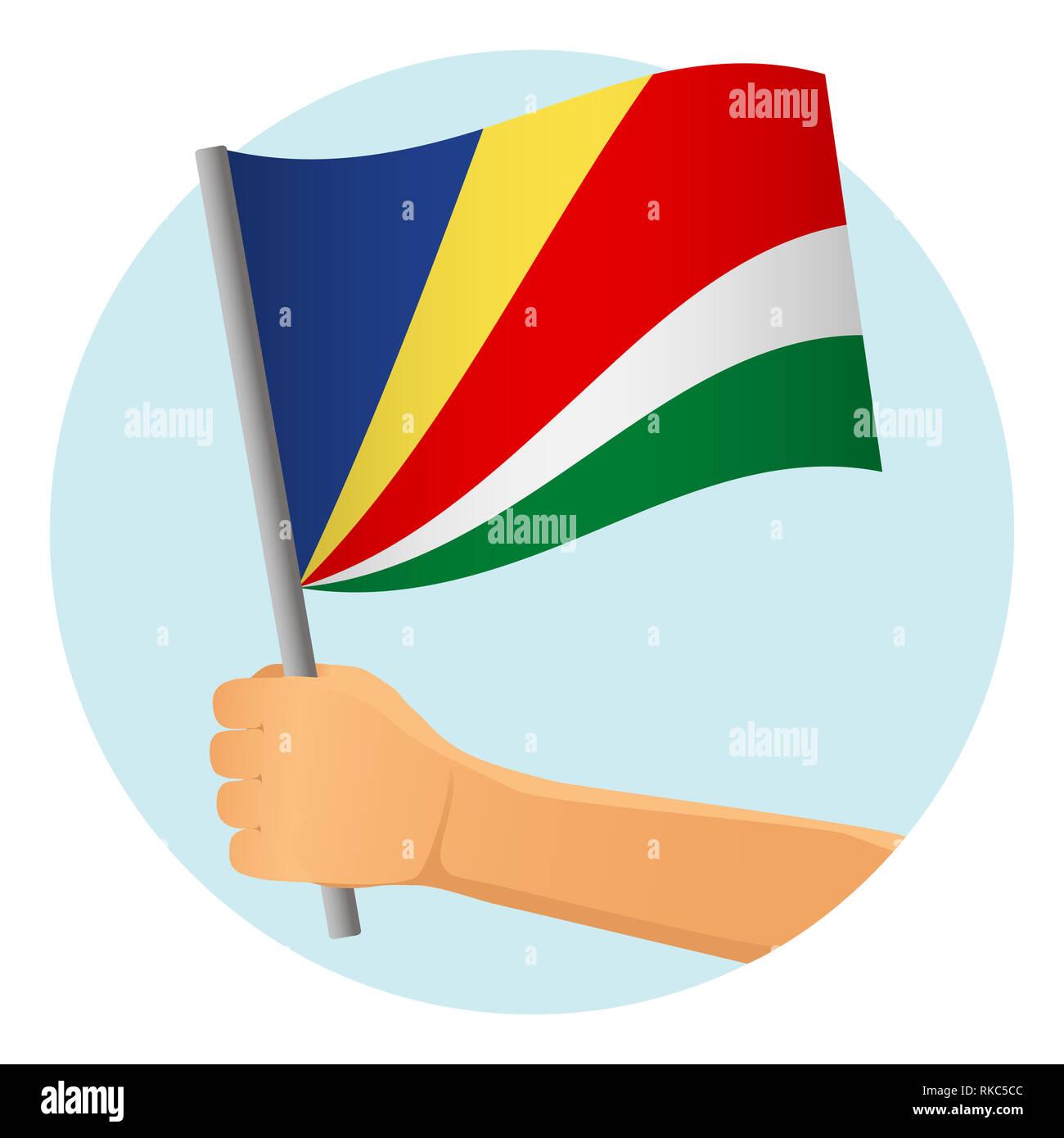 Seychelles flag in hand. Patriotic background. National flag of Seychelles  illustration - Stock Image