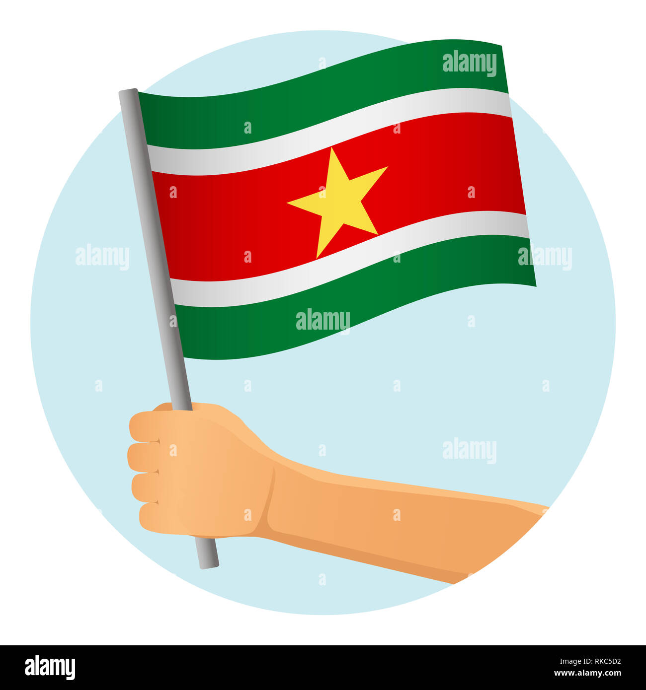 Suriname flag in hand. Patriotic background. National flag of Suriname  illustration - Stock Image