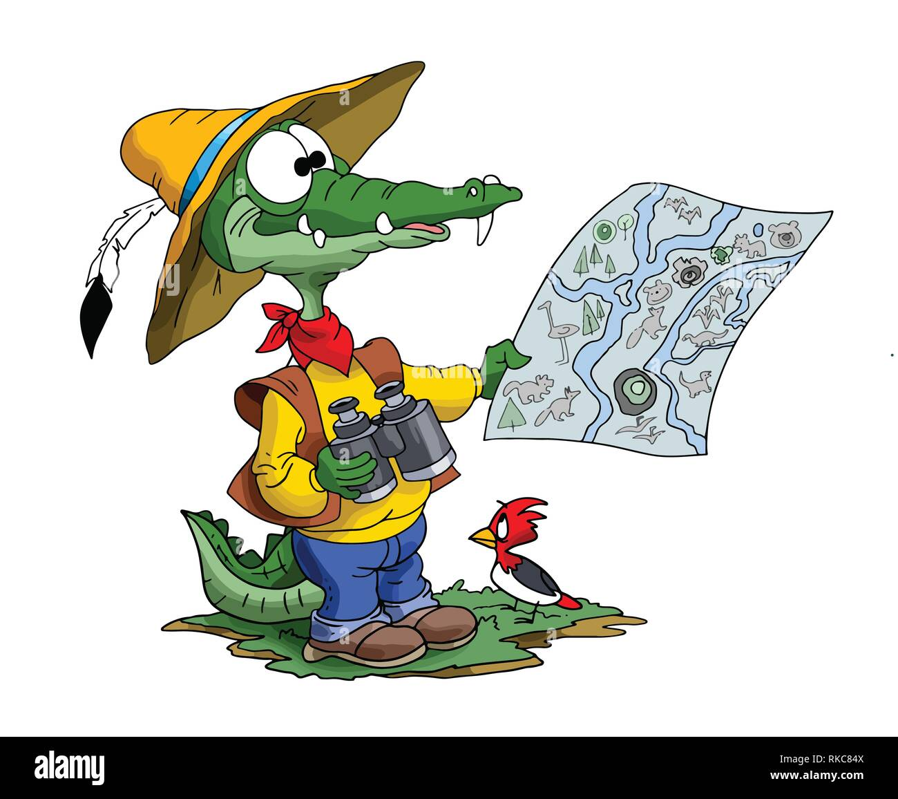 Cartoon adventurer alligator looking his map to find his route vector illustration - Stock Image