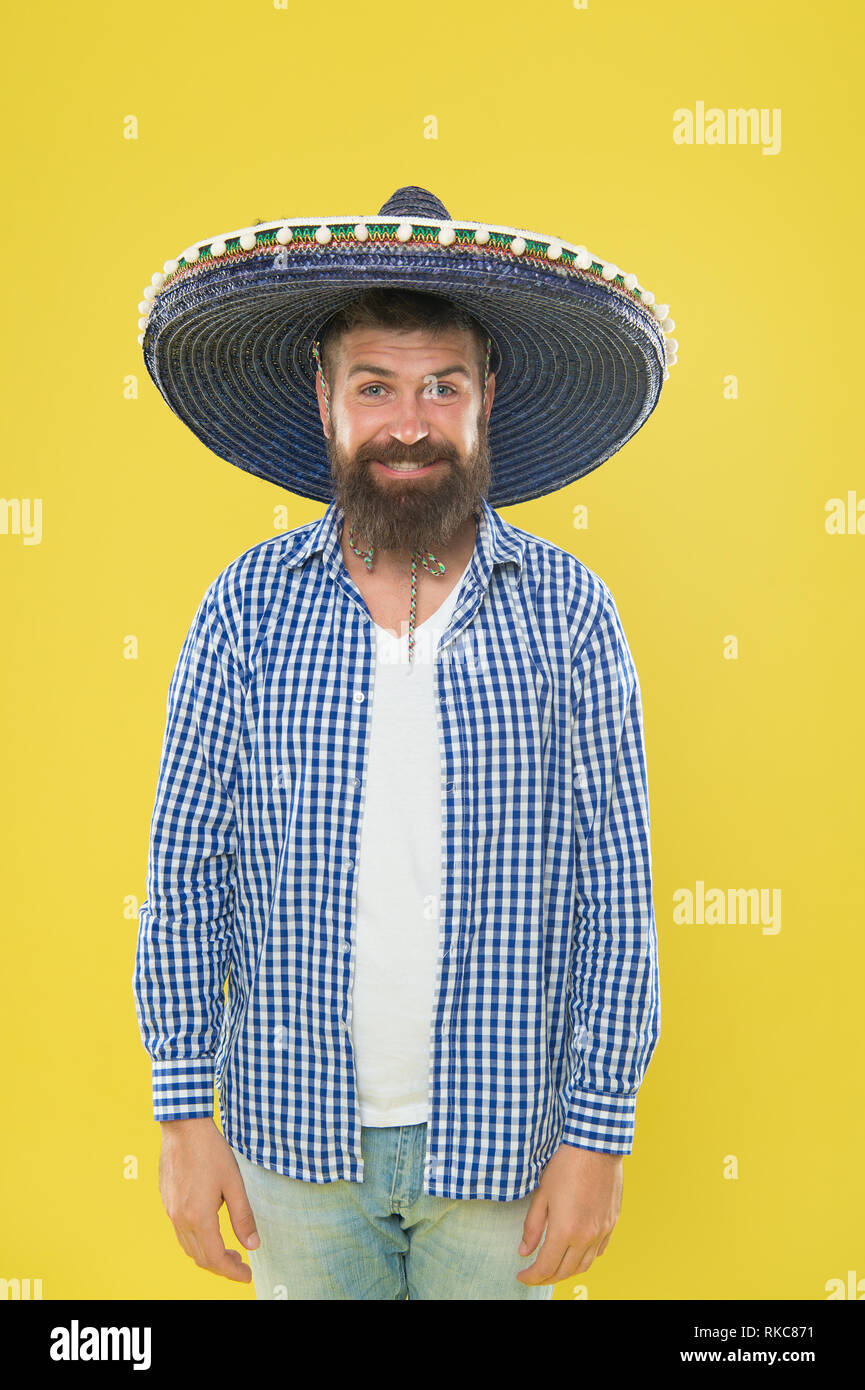 2334a0c041e A crazy hat for crazy hat day. Mexican man wearing sombrero. Bearded man in