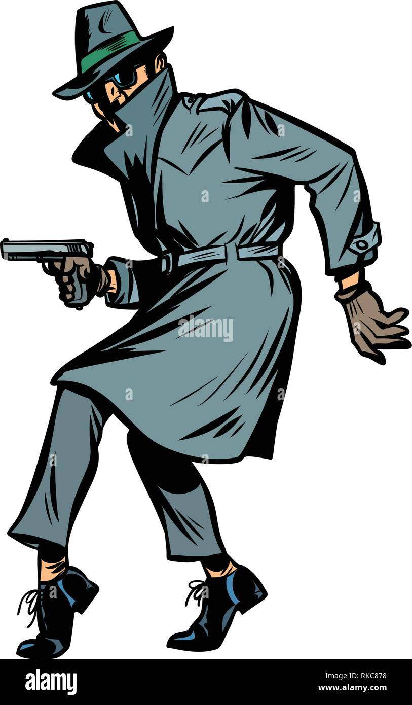 detective spy man with gun pose. isolate on white background. Comic cartoon pop art retro vector illustration drawing Stock Vector