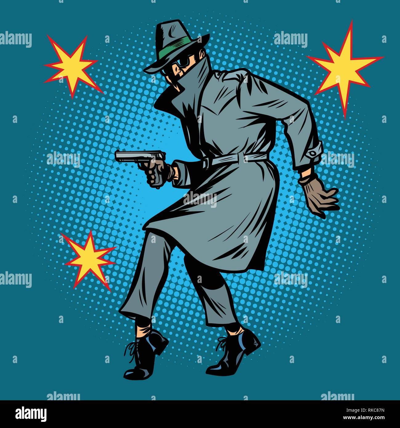 detective spy man with gun pose. Comic cartoon pop art retro vector illustration drawing Stock Vector