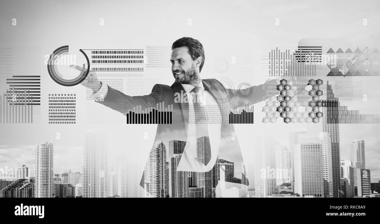 Businessman with briefcase business center background. Financial statistics digital technology. Digital business concept. Touch digital surface. Businessman financial manager interact digital surface. - Stock Image
