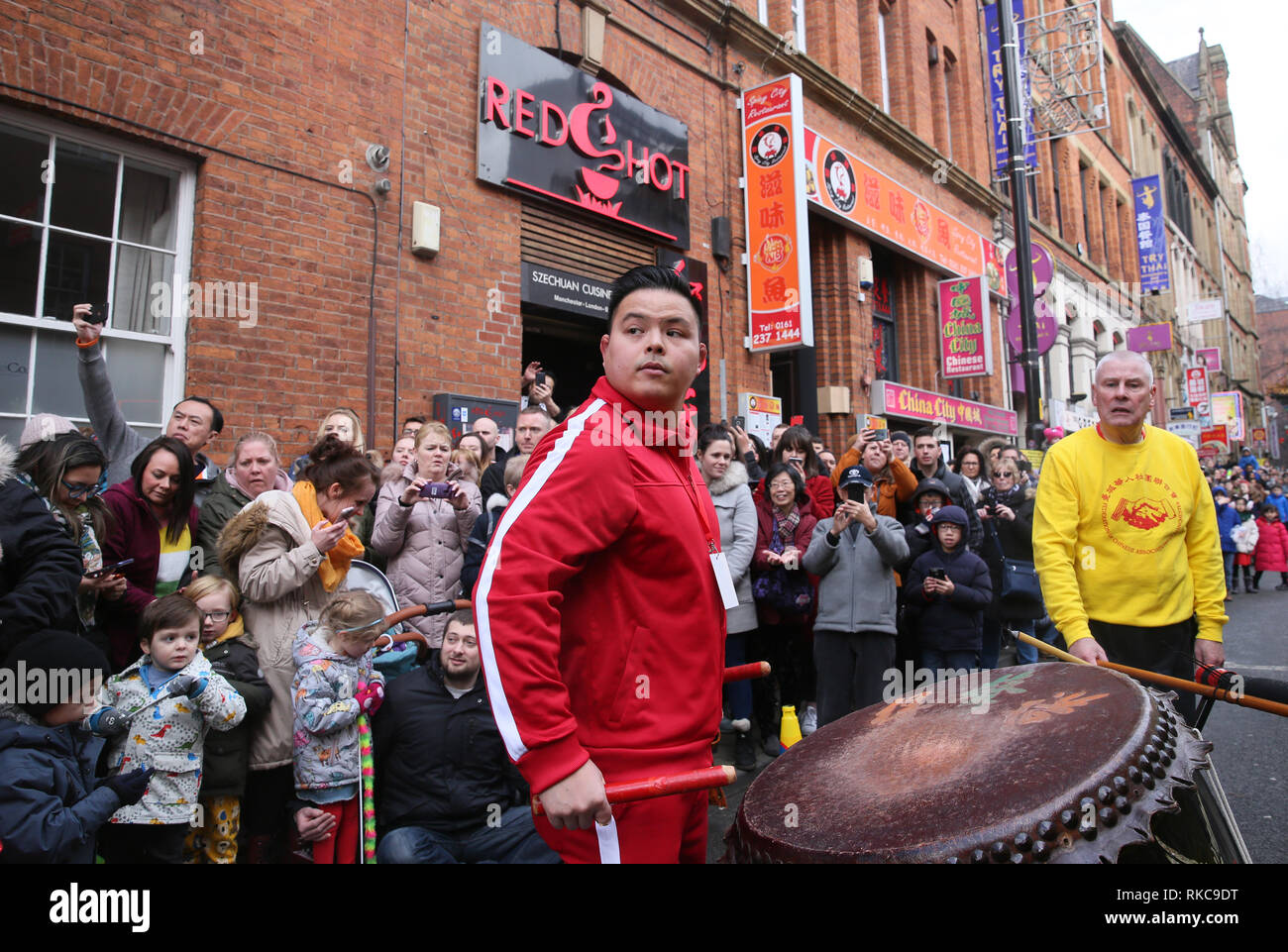 Manchester, UK. 10th Feb 2019. Thousands celebrate Chinese New Year in the city with Dragons, Lion dancing and giant inflatables in the year of the Pig, Manchester, UK, 10th February 2019 Credit: Barbara Cook/Alamy Live News Stock Photo