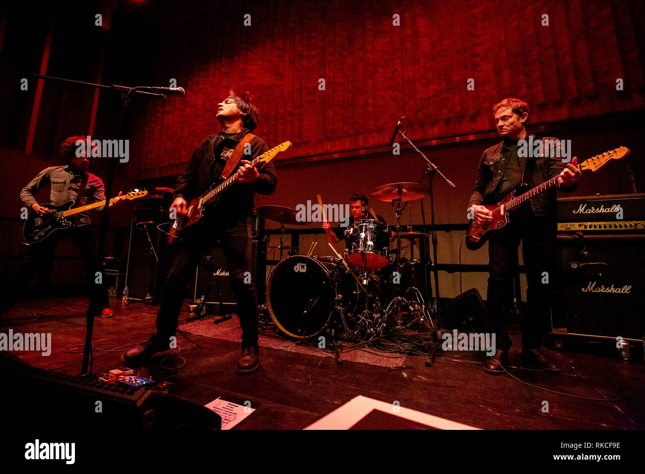 Cambridge, UK. 10th February, 2019. American indie art rock band ...And You Will Know Us by the Trail of Dead performs live at Storey's Field Centre in Eddington celebrating 20 years of the album Madonna. Richard Etteridge / Alamy Live News - Stock Image
